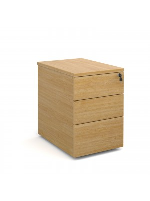 Deluxe 3 drawer mobile pedestal 600mm deep - oak