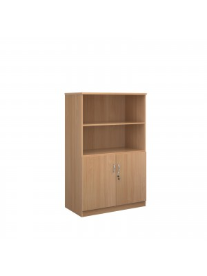 Deluxe combination unit with open top 1600mm high with 3 shelves - beech