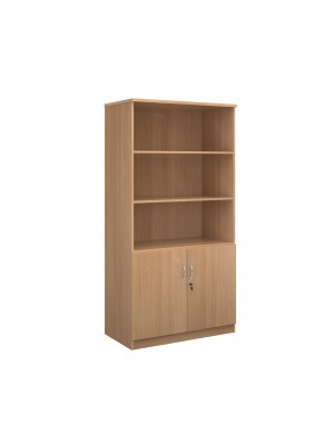 Deluxe combination unit with open top 2000mm high with 4 shelves - beech