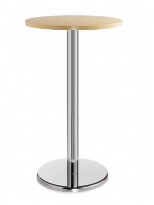Pisa circular poseur table with round chrome base 600mm - beech