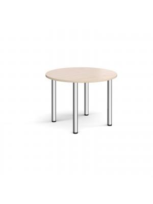 Circular chrome radial leg meeting table 1000mm - maple