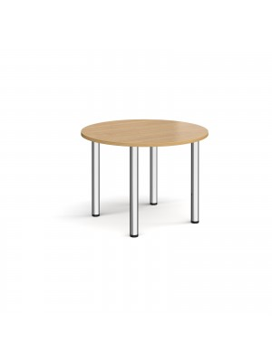 Circular chrome radial leg meeting table 1000mm - oak