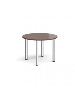 Circular chrome radial leg meeting table 1000mm - walnut