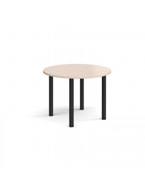 Circular black radial leg meeting table 1000mm - maple