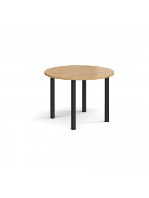 Circular black radial leg meeting table 1000mm - oak