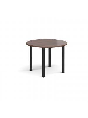 Circular black radial leg meeting table 1000mm - walnut
