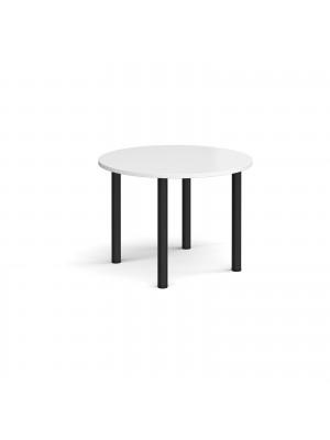 Circular black radial leg meeting table 1000mm - white