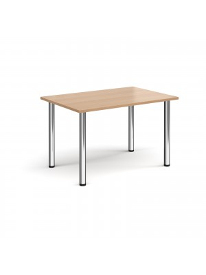 Rectangular chrome radial leg meeting table 1200mm x 800mm - beech