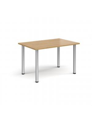 Rectangular silver radial leg meeting table 1200mm x 800mm - oak