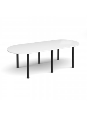 Radial end meeting table 2400mm x 1000mm with 6 black radial legs - white