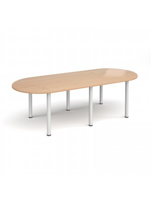 Radial end meeting table 2400mm x 1000mm with 6 white radial legs - beech