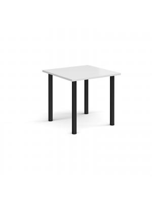 Rectangular black radial leg meeting table 800mm x 800mm - white
