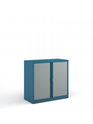 Bisley systems storage low tambour cupboard 1000mm high - blue