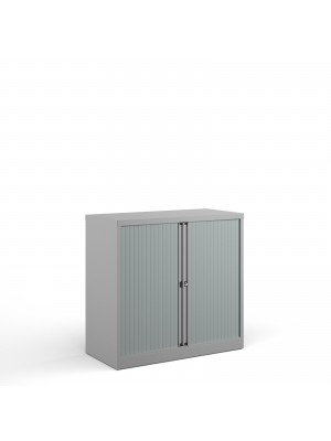 Bisley systems storage low tambour cupboard 1000mm high - goose grey