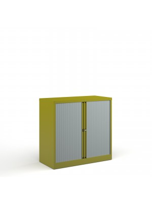 Bisley systems storage low tambour cupboard 1000mm high - green