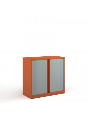 Bisley systems storage low tambour cupboard 1000mm high - orange
