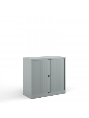 Bisley systems storage low tambour cupboard 1000mm high - silver