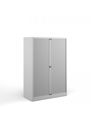 Bisley systems storage medium tambour cupboard 1570mm high - white