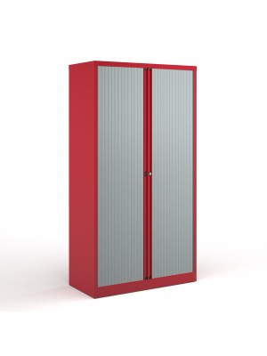 Bisley systems storage high tambour cupboard 1970mm high - red
