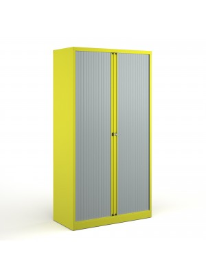 Bisley systems storage high tambour cupboard 1970mm high - yellow