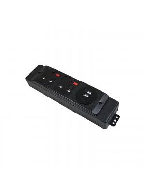 Under desk power bar 2 x UK sockets, 1 x twin USB fast charge - black
