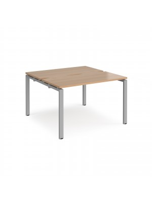Adapt II back to back desks 1200mm x 1200mm - silver frame, beech top