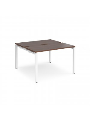 Adapt II back to back desks 1200mm x 1200mm - white frame, walnut top