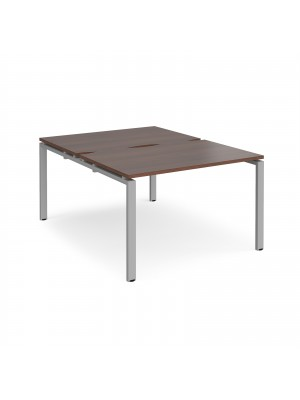 Adapt II back to back desks 1200mm x 1600mm - silver frame, walnut top