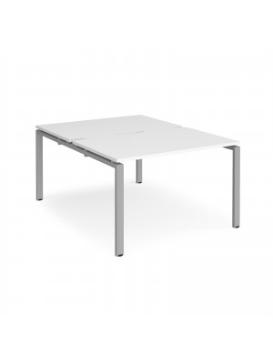 Adapt II back to back desks 1200mm x 1600mm - silver frame, white top