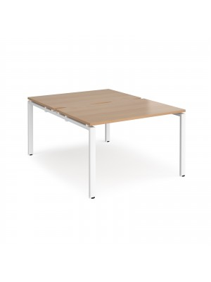 Adapt II back to back desks 1200mm x 1600mm - white frame, beech top