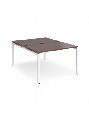 Adapt II back to back desks 1200mm x 1600mm - white frame, walnut top