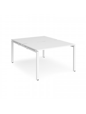 Adapt II back to back desks 1200mm x 1600mm - white frame, white top