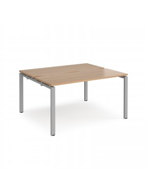 Adapt II back to back desks 1400mm x 1200mm - silver frame, beech top