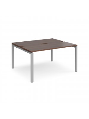 Adapt II back to back desks 1400mm x 1200mm - silver frame, walnut top