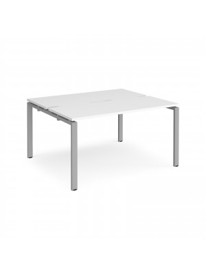 Adapt II back to back desks 1400mm x 1200mm - silver frame, white top