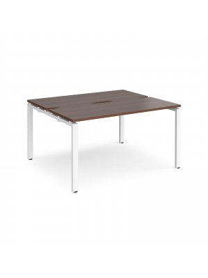 Adapt II back to back desks 1400mm x 1200mm - white frame, walnut top