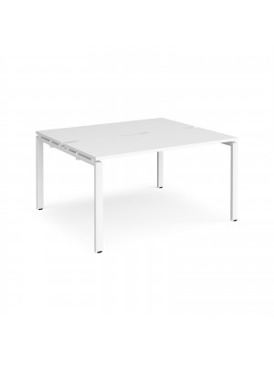Adapt II back to back desks 1400mm x 1200mm - white frame, white top