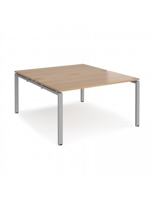 Adapt II back to back desks 1400mm x 1600mm - silver frame, beech top