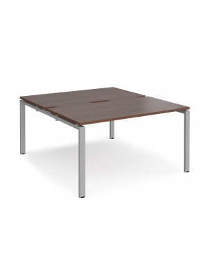 Adapt II back to back desks 1400mm x 1600mm - silver frame, walnut top