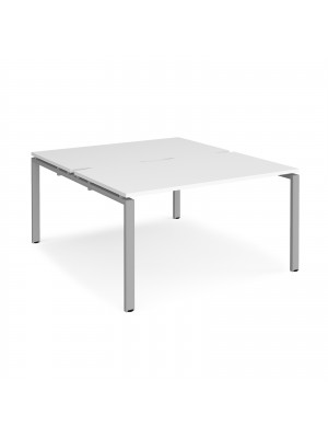 Adapt II back to back desks 1400mm x 1600mm - silver frame, white top