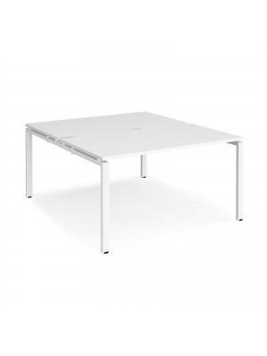 Adapt II back to back desks 1400mm x 1600mm - white frame, white top