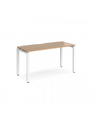 Adapt II single desk 1400mm x 600mm - white frame, beech top