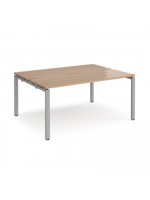 Adapt II back to back desks 1600mm x 1200mm - silver frame, beech top