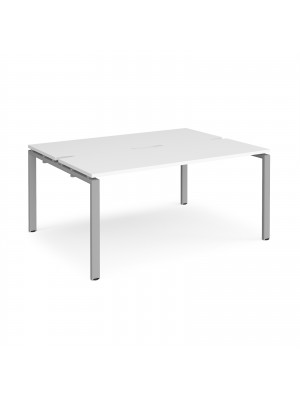 Adapt II back to back desks 1600mm x 1200mm - silver frame, white top