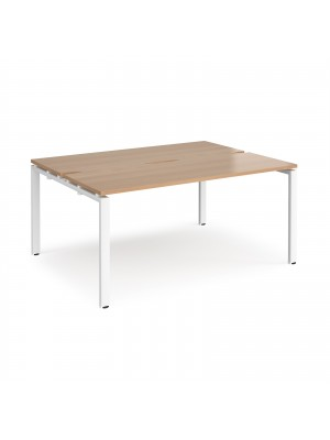 Adapt II back to back desks 1600mm x 1200mm - white frame, beech top