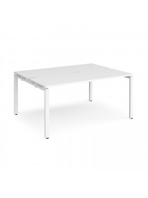 Adapt II back to back desks 1600mm x 1200mm - white frame, white top
