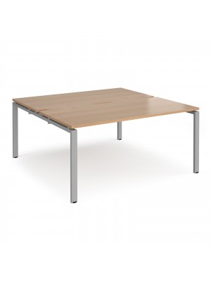 Adapt II back to back desks 1600mm x 1600mm - silver frame, beech top