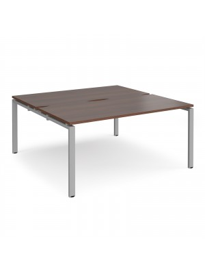 Adapt II back to back desks 1600mm x 1600mm - silver frame, walnut top