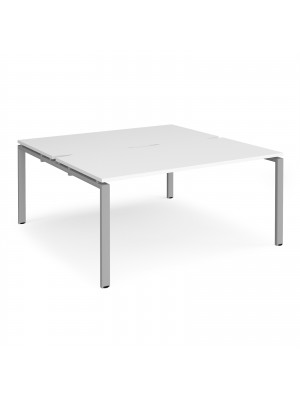 Adapt II back to back desks 1600mm x 1600mm - silver frame, white top