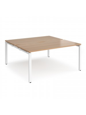 Adapt II back to back desks 1600mm x 1600mm - white frame, beech top